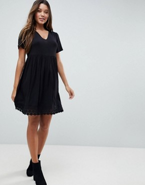 photo V-Neck Smock Dress with Lace Hem by ASOS, color Black - Image 1