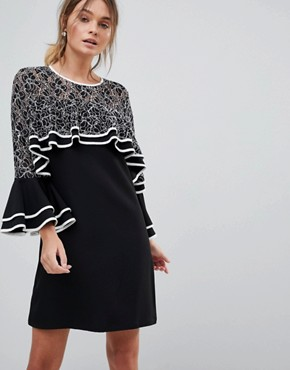 photo Dress with Lace Detail and Frill Sleeves by Liquorish, color Black - Image 1