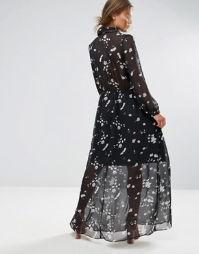 photo Long Sleeve Floral Maxi Dress by Liquorish, color Black - Image 2