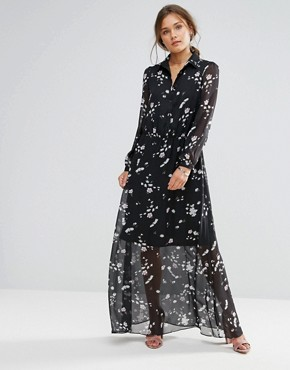 photo Long Sleeve Floral Maxi Dress by Liquorish, color Black - Image 1