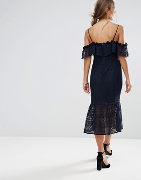 photo Cold Shoulder Lace Midi Dress by Liquorish, color Navy - Image 2