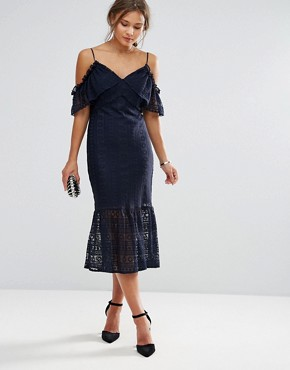 photo Cold Shoulder Lace Midi Dress by Liquorish, color Navy - Image 1