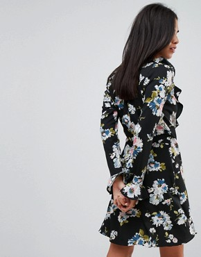 photo Floral Print Wrap Ruffle Dress by Liquorish, color Black - Image 2