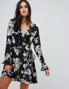 photo Floral Print Wrap Ruffle Dress by Liquorish, color Black - Image 1