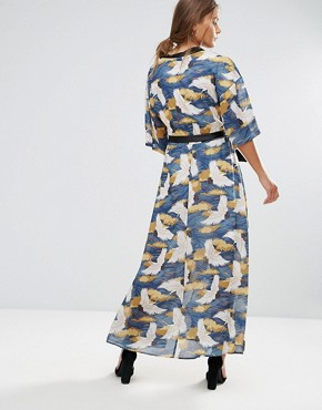 photo Bird Print Wrap Maxi Dress by Liquorish, color Multi - Image 2