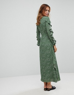 photo Maxi Floral Dress with Frills by Liquorish, color Green - Image 2