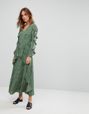 photo Maxi Floral Dress with Frills by Liquorish, color Green - Image 1