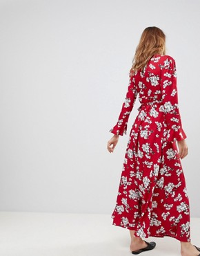 photo Floral Wrap Maxi Dress by Liquorish, color Red - Image 2