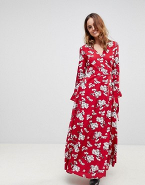 photo Floral Wrap Maxi Dress by Liquorish, color Red - Image 1