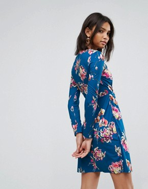 photo Flower Print Wrap Dress by Uttam Boutique, color Teal - Image 2
