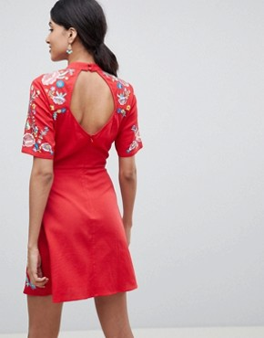 photo Mini Embroidered Dress by ASOS TALL PREMIUM, color Red - Image 2