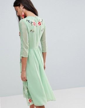 photo Midi Skater Dress with Floral Embroidery by ASOS TALL PREMIUM, color Multi - Image 2