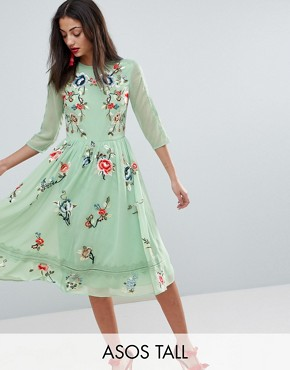 photo Midi Skater Dress with Floral Embroidery by ASOS TALL PREMIUM, color Multi - Image 1