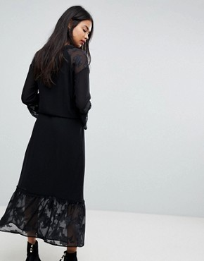 photo Maxi Dress with Bell Sleeves by Sisley, color Black - Image 2