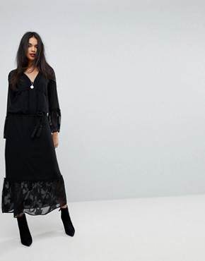 photo Maxi Dress with Bell Sleeves by Sisley, color Black - Image 1