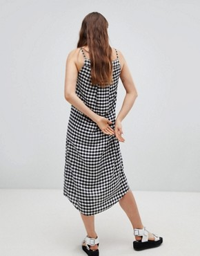 photo Track Gingham Slip Dress by Cheap Monday, color Black - Image 2
