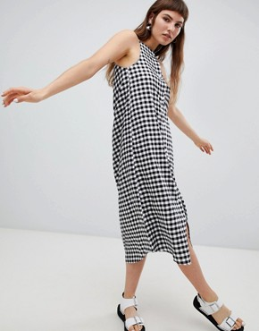 photo Track Gingham Slip Dress by Cheap Monday, color Black - Image 1