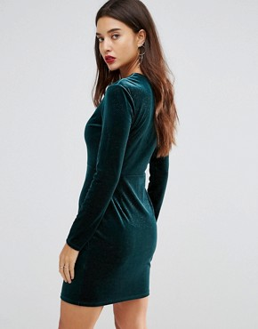 photo Deep V Pleated Velvet Mini Dress by Ivyrevel, color Teal - Image 2