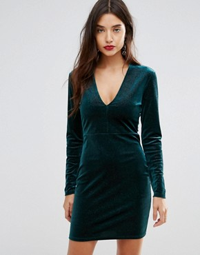 photo Deep V Pleated Velvet Mini Dress by Ivyrevel, color Teal - Image 1