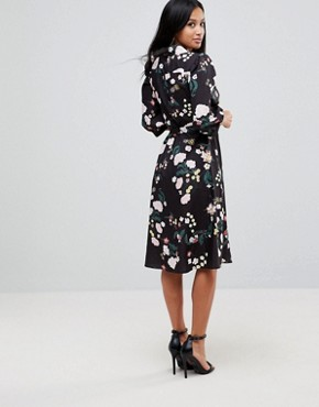 photo Flower Print Wrap Dress by Uttam Boutique Petite, color Black - Image 2