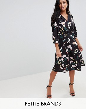 photo Flower Print Wrap Dress by Uttam Boutique Petite, color Black - Image 1