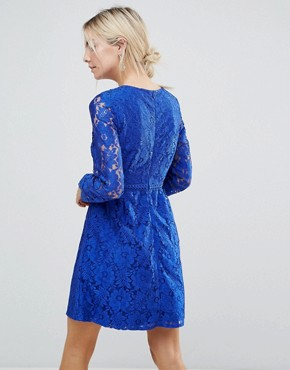 photo Lace Detail Skater Dress by Uttam Boutique Petite, color Blue - Image 2
