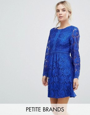 photo Lace Detail Skater Dress by Uttam Boutique Petite, color Blue - Image 1
