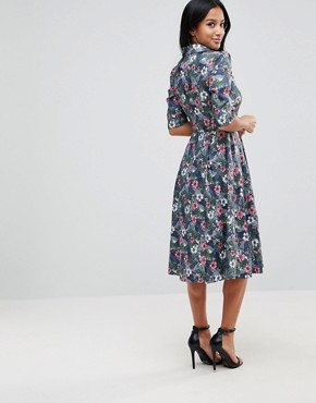 photo Flower Print Button Dress by Uttam Boutique Petite, color Multi - Image 2
