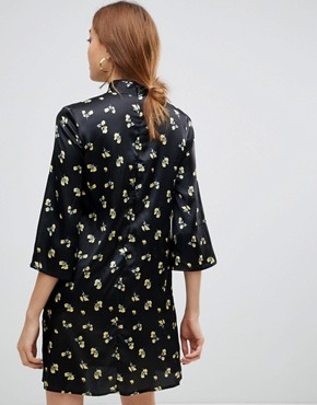 photo Shift Dress with Mandarin Collar Detail in Satin Buttercup Floral by Influence Tall, color Black - Image 2