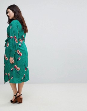 photo Knot Asymmetric Wrap Front Floral Midi Dress by Influence Plus, color Green - Image 2