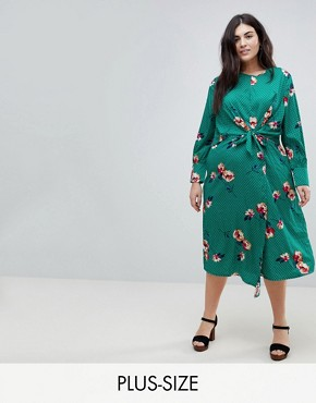 photo Knot Asymmetric Wrap Front Floral Midi Dress by Influence Plus, color Green - Image 1