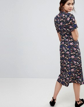 photo High Neck Floral Asymmetric Wrap Dress with Contrast Tab by Influence Tall, color Multi - Image 2