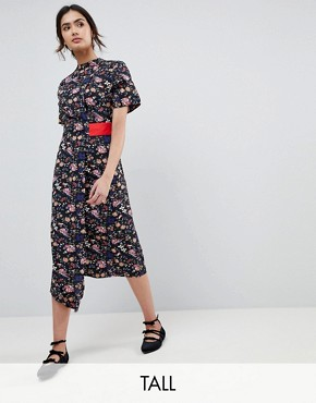 photo High Neck Floral Asymmetric Wrap Dress with Contrast Tab by Influence Tall, color Multi - Image 1