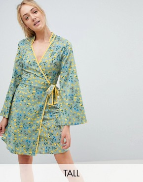 photo Contrast Binding Floral Wrap Dress by Influence Tall, color Multi - Image 1