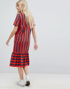 photo Midi Block Stripe T-Shirt Dress by ASOS, color Navy/Red Stripe - Image 2
