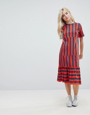 photo Midi Block Stripe T-Shirt Dress by ASOS, color Navy/Red Stripe - Image 1