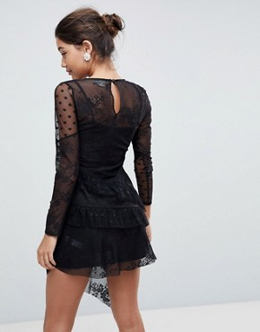 photo Dobby Mesh and Lace Mix Dress with Frill Skirt by ASOS, color Black - Image 2
