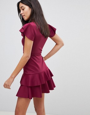 photo Scuba Mini V-Neck Dress with Ruffles by ASOS, color Deep Plum - Image 2