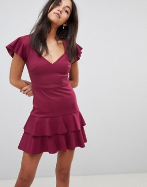 photo Scuba Mini V-Neck Dress with Ruffles by ASOS, color Deep Plum - Image 1