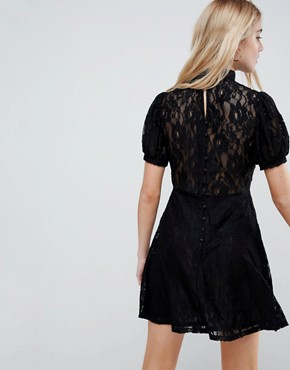 photo Mini Lace Dress with Puff Sleeve by ASOS, color Black - Image 2