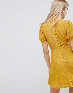 photo Mini Lace Dress with Puff Sleeve by ASOS, color Mustard - Image 2