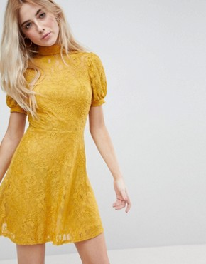 photo Mini Lace Dress with Puff Sleeve by ASOS, color Mustard - Image 1