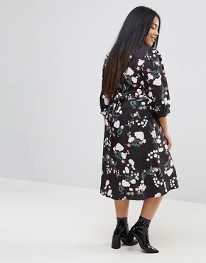 photo Flower Wrap Dress by Uttam Boutique Plus, color Black - Image 2