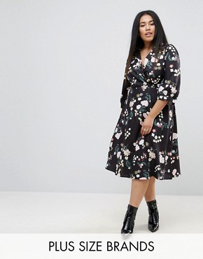 photo Flower Wrap Dress by Uttam Boutique Plus, color Black - Image 1