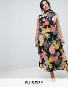photo Flower Print Neck Dress by Uttam Boutique Plus, color Black - Image 1