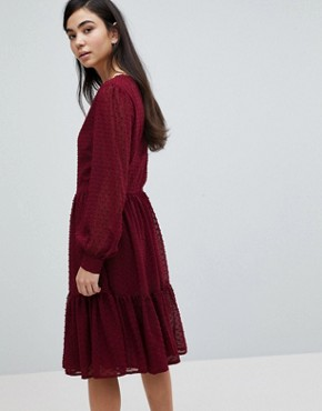 photo Textured Dot Tiered Dress by Soaked in Luxury, color Cabernet - Image 2