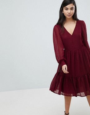 photo Textured Dot Tiered Dress by Soaked in Luxury, color Cabernet - Image 1