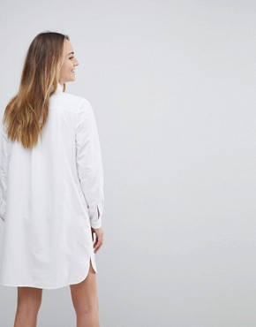 photo Cotton Mini Shirt Dress by ASOS TALL, color White - Image 2
