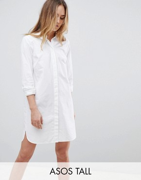 photo Cotton Mini Shirt Dress by ASOS TALL, color White - Image 1