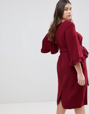 photo Kimono Frill Sleeve Midi Dress by ASOS CURVE, color Dark Red - Image 2